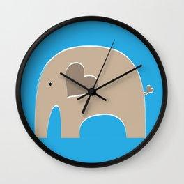Blue Safari Elephant 2 Wall Clock