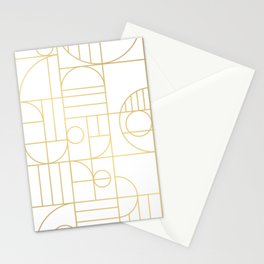 Minimalist Mid Century Modern Gold Pattern Stationery Cards