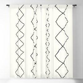 Moroccan Diamond Stripe in Black and White Blackout Curtain