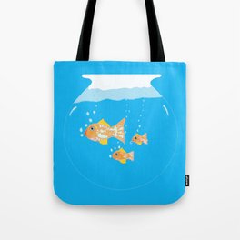 Three Goldfishes In a Water Bowl Tote Bag