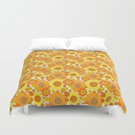 Pushing daisies orange and yellow Duvet Cover