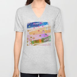 Abstract Mixed Media: Blue, Lilac, Yellow & Green Unisex V-Neck