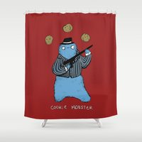 cookie monster Shower Curtains featuring Cookie Mobster by Sophie Corrigan