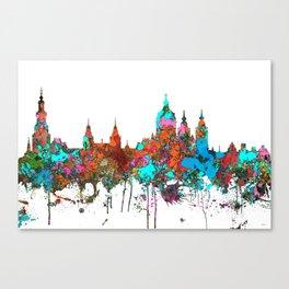 Amsterdam, The Netherlands Skyline - Confetti Canvas Print