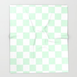 Checkered - White and Pastel Green Throw Blanket