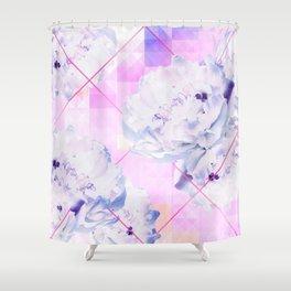Geometric Hot Pink Peonies Flowers Design Shower Curtain