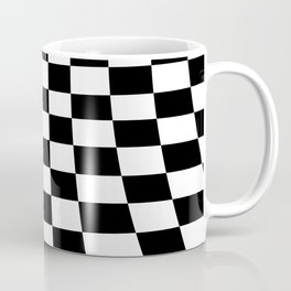 Warped perspective coloured checker board effect grid illustration black and white Coffee Mug