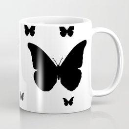 GOTHIC EBONY BLACK BUTTERFLIES & WHITE-BLACK ART Coffee Mug