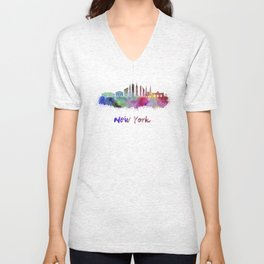 New York V3 skyline in watercolor Unisex V-Neck