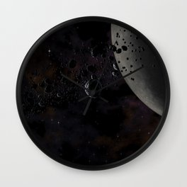 Rocks and ice particles orbiting around dead planet. Outer Space, Cosmic Art and Science Fiction Con Wall Clock