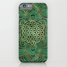 Flower of Life in Lotus - Malachite and gold iPhone Case