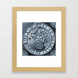 Steampunk clock silver Framed Art Print