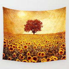 lone tree & sunflowers field Wall Tapestry