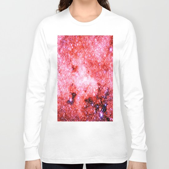 GALaXY Sparkle Stars Pink Coral Lavender Long Sleeve T-shirt