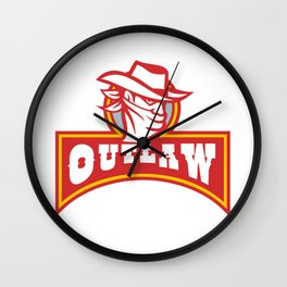 Bandit With Outlaw Text Retro Wall Clock