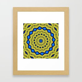 Peacock Feathers Mandala Kaleidoscope Abstract 1 Framed Art Print