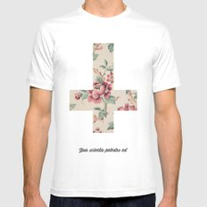 Flower Cross White Mens Fitted Tee MEDIUM