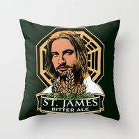 ale giorgini Throw Pillows featuring St. James Bitter Ale by Ant Atomic