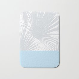 Tropical Pastel Grey Palm Leaves on Soft Blue Bath Mat