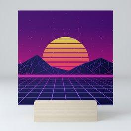 Miami Coast Synthwave Aesthetic Mini Art Print