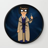 tina crespo Wall Clocks featuring Doctor Tina, Time Lord by GrahamBailey