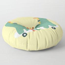 Dinosaur on retro skateboard Floor Pillow