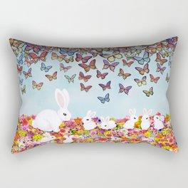 bunnies, flowers, and butterflies Rectangular Pillow