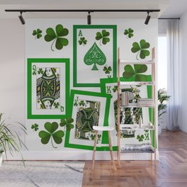 ROYAL COURT IN GREEN IRISH CLOVER CASINO PLAYING CARDS  Wall Mural