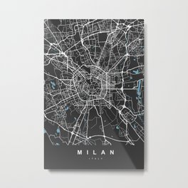 Milan Italy Map | Black & Blue | More Colors, Review My Collections Metal Print