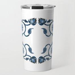 Blue Paisley Double Heart 1 Travel Mug