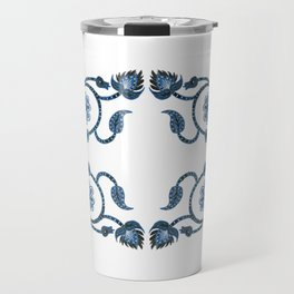 Blue Paisley Double Heart 1 Travel Mug