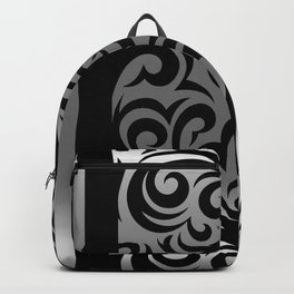 Silver and Black Swirl Pattern Backpack