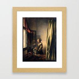 "Johannes Vermeer ""Girl Reading a Letter at an Open Window"" Framed Art Print"