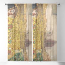 Gustav Klimt portrait The Kiss & The Golden Tears (Freya's Tears) No. 1 Sheer Curtain
