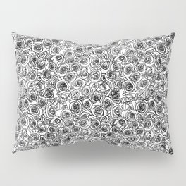 Seamless black and white rose line drawing Pillow Sham