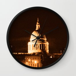 St Paul's Cathedral in Sepia & Dry Brush Effect Wall Clock