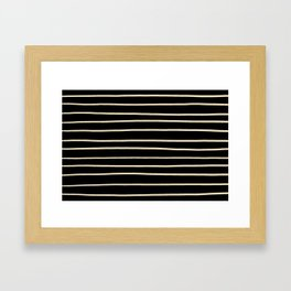 Valspar America Wood Yellow - Homey Cream - Glow Home Hand Drawn Horizontal Stripes on Black Framed Art Print