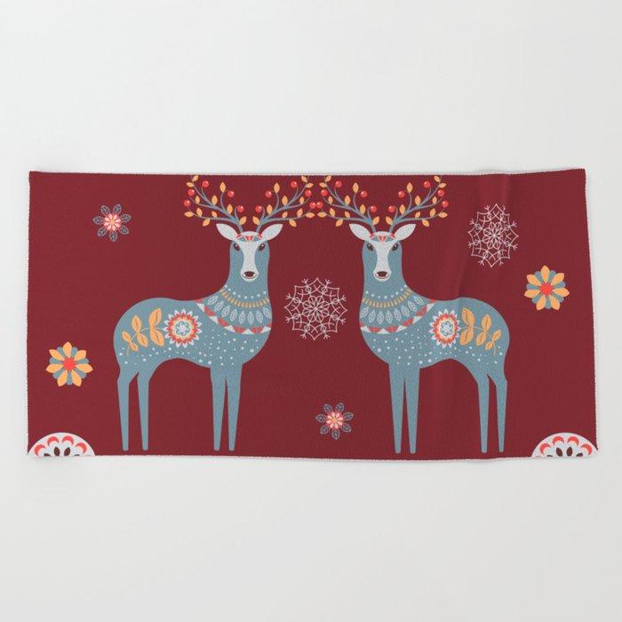 Nordic Winter Red Beach Towel