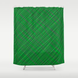 Wicker ornament of their green threads and blue intersecting fibers. Shower Curtain
