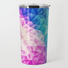 Pink - Ice Blue / Abstract Polygon Crystal Cubism Low Poly Triangle Design Travel Mug