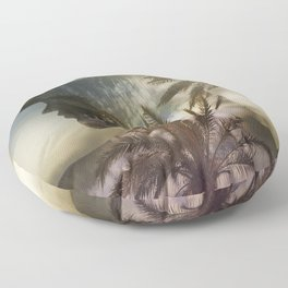 Woman and beach palm trees multiple exposure Floor Pillow