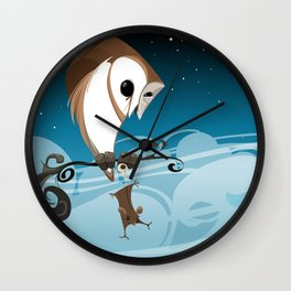 Barn Owl and Mouse Wall Clock