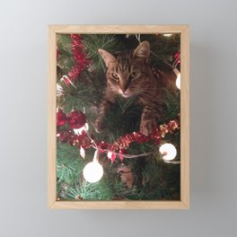 Cat in tree Photoshop effect Framed Mini Art Print