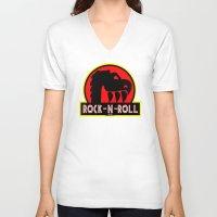 rock n roll V-neck T-shirts featuring Rock n Roll lives! by Los Espada Art