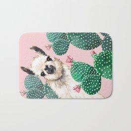 Llama and Cactus Pink Bath Mat