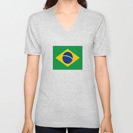 Flag of Brazil-Brazil, flag, flag of brazil, brazilian,Rio, Sao Paulo, Rio de Janiero, carnival Unisex V-Neck