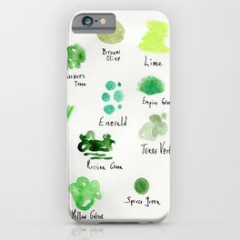 Greens -a watercolor collection of shades iPhone Case