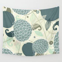 Abstract Floral Blue by Friztin Wall Tapestry