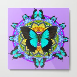 PURPLE AMETHYST BLUE-BLACK BUTTERFLY MANDALA ART Metal Print