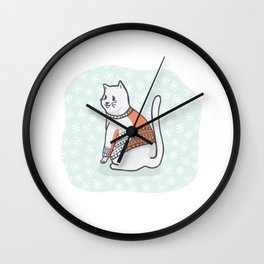 Christmas Cat Greetings Card Clipart, Hand Drawn Cat Lover in Embroidery Wall Clock